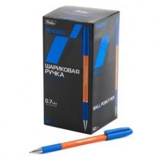 Ручка шариковая. Hatber. TANDEM Синяя. 0,7мм. С колпачком, клипом и резиновым грипом