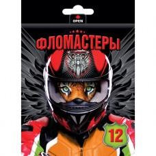 Фломастеры. Hatber. VK. Moto-beast. В картонной коробке с европодвесом. 12 цветов