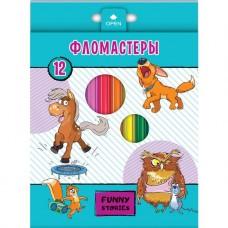 Фломастеры. Hatber. VK. Забавные животные. В картонной коробке с европодвесом. 12 цветов