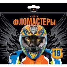 Фломастеры. Hatber. VK. Moto-beast. В картонной коробке с европодвесом. 18 цветов