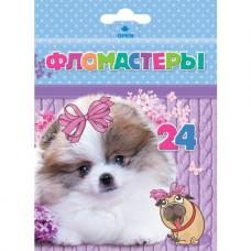 Фломастеры. Hatber. VK. Милые собачки. В картонной коробке с европодвесом. 24 цвета