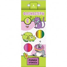Фломастеры. Hatber. VK. Забавные животные. В картонной коробке с европодвесом. 6 цветов