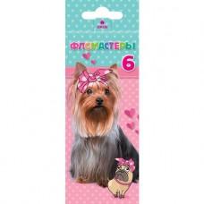 Фломастеры. Hatber. VK. Милые собачки. В картонной коробке с европодвесом. 6 цветов