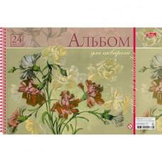 Альбом для рисования. Hatber. А4. 24 листа на пластиковой спирали. Flower print