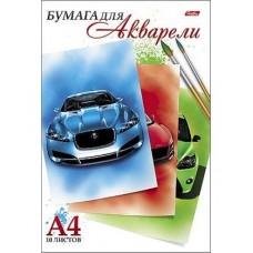Набор бумаги для рисования Акварелью. Hatber. А4. 10 листов. Автомобили