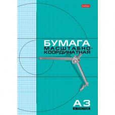Набор бумаги масштабно-координатной Hatber. 8 листов.  А3. На скобе. Голубая сетка
