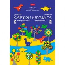 Набор цветного лакированого картона и цветной мелованой бумаги. Hatber. 20 листов. 10 цветов. А4. 194х280мм. Динозаврики