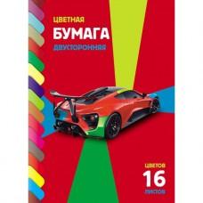 Бумага цветная двухсторонняя. HATBER. А4. 16 листов. 16 цветов. Sport car