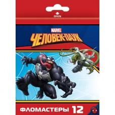 Фломастеры. 12 цветов. HATBER VK. Marvel - Человек паук. В картонной коробке с европодвесом