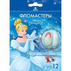 Фломастеры. 12 цветов. HATBER VK. Принцессы - Дисней В картонной коробке с европодвесом
