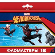 Фломастеры. 18 цветов. HATBER VK. Marvel - Человек паук. В картонной коробке с европодвесом