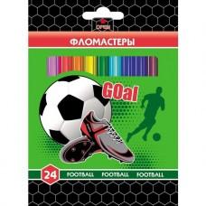 Фломастеры. 24 цвета. HATBER VK. Футбол. В картонной коробке с европодвесом