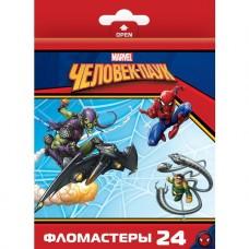 Фломастеры. 24 цвета. HATBER VK. Marvel - Человек паук. В картонной коробке с европодвесом