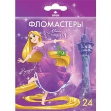 Фломастеры. 24 цвета. HATBER VK. Принцессы - Дисней В картонной коробке с европодвесом