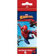 Фломастеры. 6 цветов. HATBER VK. Marvel - Человек паук. В картонной коробке с европодвесом