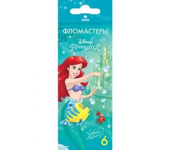 Фломастеры. 6 цветов. HATBER VK. Принцессы - Дисней В картонной коробке с европодвесом