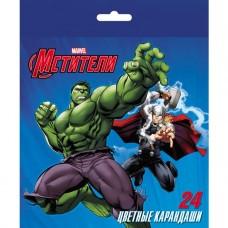 Карандаши цветные. Hatber. VK. Marvel-Мстители. 24 цвета. С заточкой. В картонной коробке с европодвесом