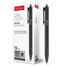 Ручка гелевая автоматическая. Hatber. OneClick. Черная. 0,5мм