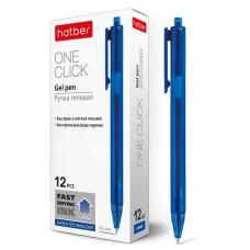 Ручка гелевая автоматическая. Hatber. OneClick. Синяя. 0,5мм