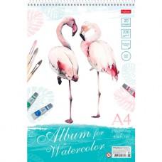 Альбом для рисования акварелью. Hatber. 20 листов. А4. На гребне. Фламинго