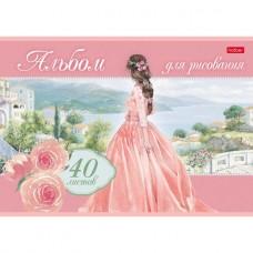 Альбом для рисования Hatber. 40 листа. А4. На скобе. Серия Грёзы принцесс