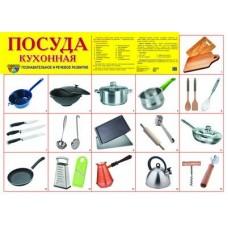 Посуда кухонная. Демонстрационный плакат. Формат А2
