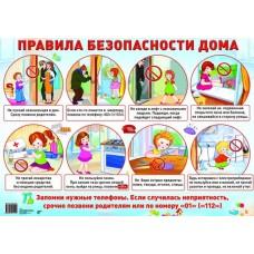 Правила безопасности дома. Демонстрационный плакат. Формат А2