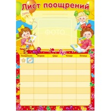 Лист поощрений для девочки. Мини-плакат. А4. Ш-12054