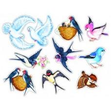 Птички. Комплект украшений на скотче. 10 видов в комплекте. КМ-10513