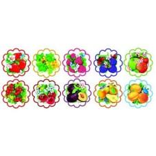 Фрукты, ягоды. Комплект украшений на скотче 10 шт. 105х105мм. КМ-8742