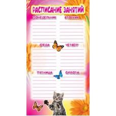 Кошка и бабочка. Расписание занятий. ШМ-3915. Формат 110х205 мм