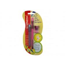 Набор. Stabilo Left Right. Механический карандаш, грифели, точилка. Для левшей. Розовый корпус